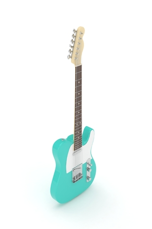 indie: Isolated turquoise electric guitar on white background. 3D rendering.