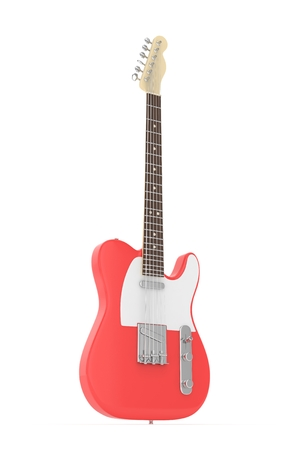 blues: Isolated red electric guitar on white background.  Musical instrument for rock, blues, metal songs. 3D rendering.