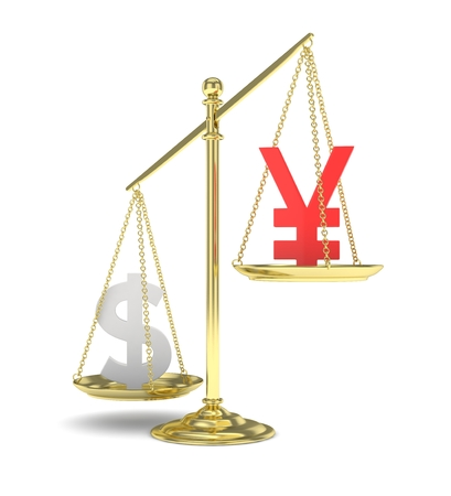 heavier: Isolated old fashioned pan scale with dollar and yuan,yen on white background. American and chinese and japanese currency. Dollar is heavier. Silver usd, red yuan. 3D rendering.