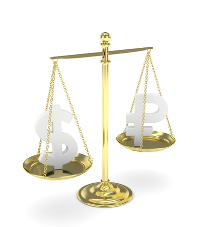 energy balance: Isolated old fashioned pan scale with dollar and ruble on white background. American and russian currency. Currency equality. 3D rendering.