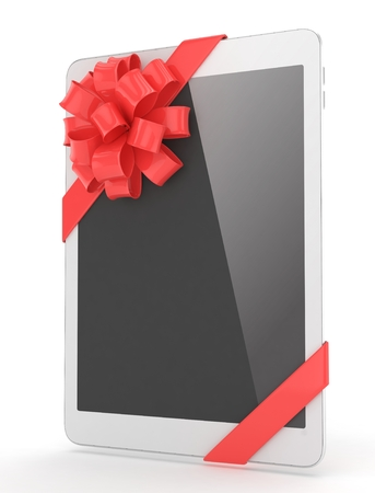 moble: White tablet with red bow. 3D rendering. Stock Photo