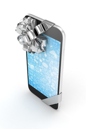 silver screen: Black phone with silver bow and blue screen. 3D rendering.