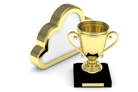 contest: Isoalted golden cup with cloud on white background. Concept of cloud storage competition. Leader cloud drive. Best storage contest. 3D rendering.