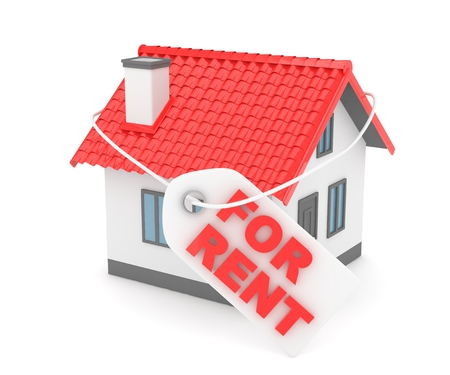 reflection of life: Miniature model of house real estate for rent label on white background. 3D rendering.