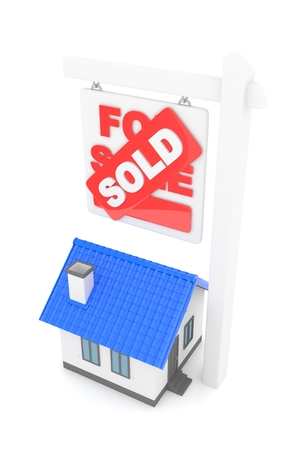 real estate sold: Isolated model of house with sign for sale sold. Concept of real estate, new apartment and moving to a new house. 3D rendering. Stock Photo
