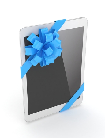 moble: White tablet with blue bow. 3D rendering.