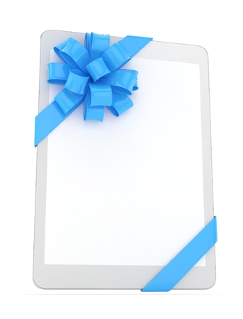 blue bow: White tablet with blue bow. 3D rendering.