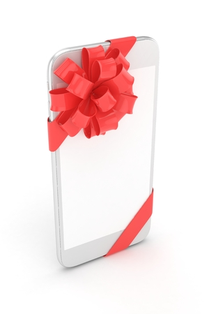 fiestas electronicas: White phone with red bow and empty screen. 3D rendering.