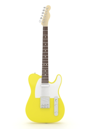 truss: Isolated yellow electric guitar on white background.  Musical instrument for rock, blues, metal songs. 3D rendering. Stock Photo