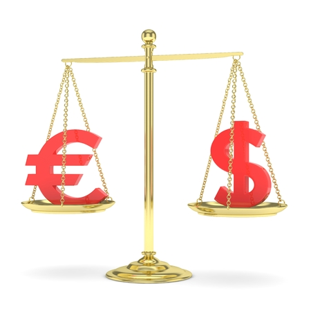 stability: Isolated golden scales with red dollar and euro currency. American and european finance. Measuring of market stability. 3D rendering.