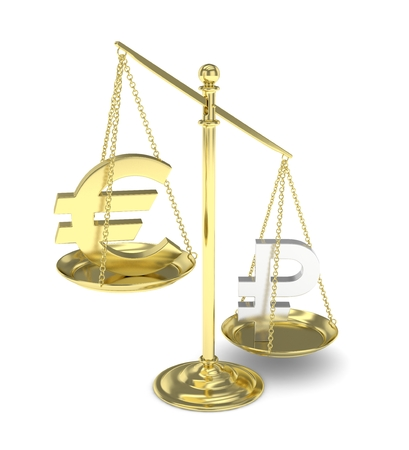 global rates: Isolated golden scales with golden euro and silver ruble currency. Russian and european finance. Measuring of market stability. 3D rendering.