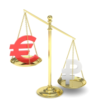global rates: Isolated golden scales with red euro and silver ruble currency. Russian and european finance. Measuring of market stability. 3D rendering.