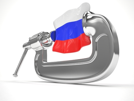 sanction: Russias flag in clamp, crisis, sanction concept. 3d rendering.