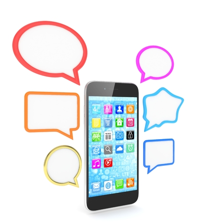 talk bubble: smartphone with bubbles isolated on white background. 3d rendering.