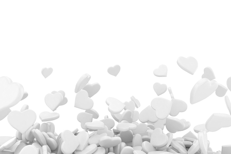 triangular shape: background made from many hearts. 3d rendering.