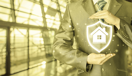 railroad station: House protection and insurance. Home shield. Real estate safety. Terminal background. Airport, railroad station. Stock Photo