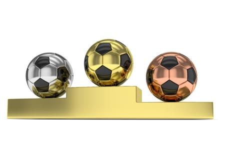 Three gloss soccer balls on golden pedestal. 3D rendering.
