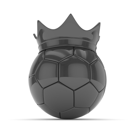 Black soccer ball with black crown on white background. 3D rendering. Stock Photo