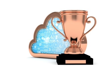 Isoalted bronze cup with cloud on white background. Bronze contour cloud. Concept of cloud storage competition. Leader cloud drive. Best storage contest. 3D rendering.