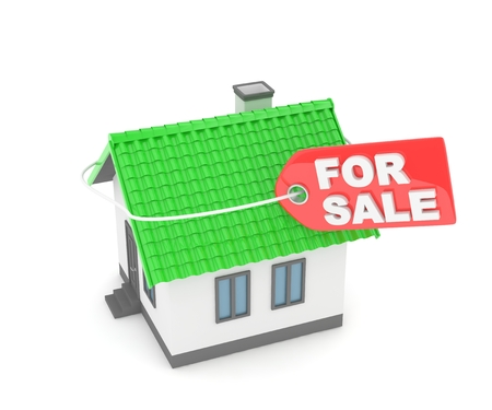 landlord: Model of house with label for sale on white background. Concept of real estate sale. 3D rendering.