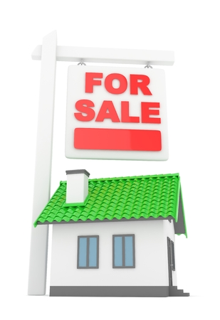 home buyer: Isolated model of house with for sale sign on white background. Good investment in real estate. Buy new apartment. 3D rendering.