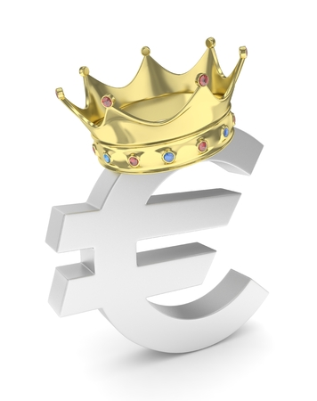 Isolated euro sign with golden crown and gems on white background. Concept of making profit, income. Currency sign. European money. 3D rendering.