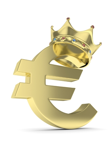 Isolated golden euro sign with crown on white background. European currency. Concept of investment, european market, savings. Power, luxury and wealth. Crown with gems. 3D rendering.