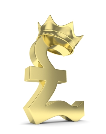 nothern ireland: Isolated golden pound sign with crown on white background. British currency. Concept of investment, european market, savings. Power, luxury and wealth. Great Britain, Nothern Ireland. 3D rendering. Stock Photo