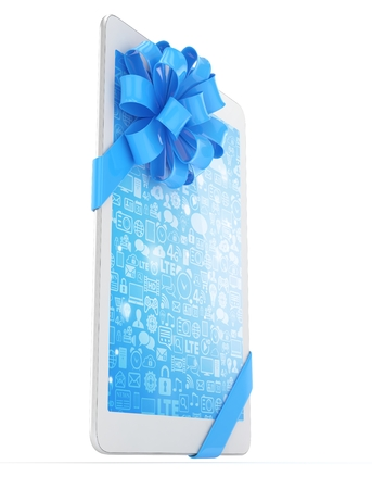 blue bow: White tablet with blue bow and blue screen. 3D rendering.