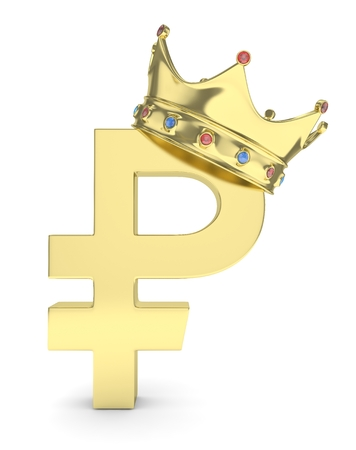 Isolated golden ruble sign with golden crown and gems on white background. Concept of making profit, income. Currency sign. Russian money. 3D rendering.