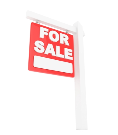 home buyer: For rent sign lease real estate on white background. 3D rendering. Stock Photo