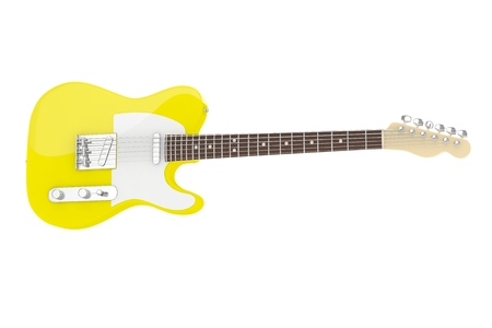 Isolated yellow electric guitar on white background. Concert and studio equipment. Musical instrument. Rock, blues style. 3D rendering.