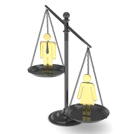 sex positions: Isolated old fashioned pan scale with man and woman on white background. Gender inequality. Female is heavier. Law issues. Golden model. 3D rendering.