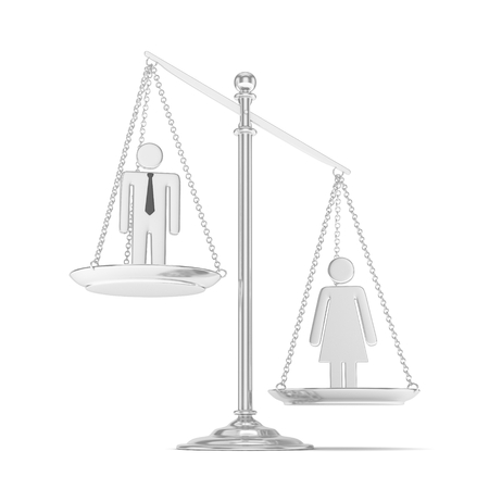 sex positions: Isolated old fashioned pan scale with man and woman on white background. Gender inequality. Equality of sexes. Law issues. Silver model. 3D rendering.