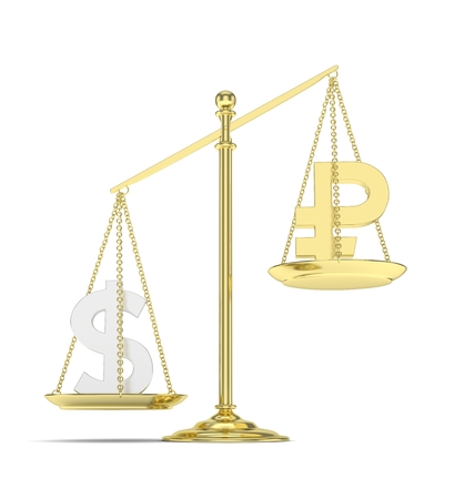 Isolated old fashioned pan scale with dollar and ruble on white background. American and russian currency. Dollar is heavier. Silver usd, golden rouble. 3D rendering. Stock Photo