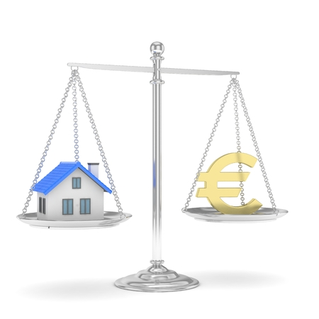 Isolated silver scales with golden euro and house on white background. Investment or savings concept. Real estate and currency. 3D rendering.