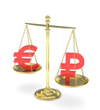 Isolated golden scales with red euro and ruble currency. Russian and european finance. Measuring of market stability. 3D rendering.