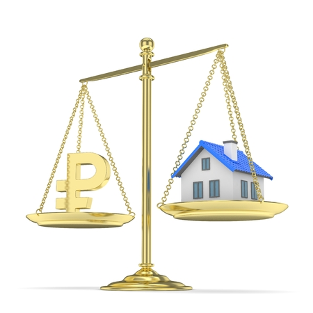 assess: Isolated golden scales with golden rouble and house on white background. Investment or savings concept. Real estate and currency. 3D rendering.