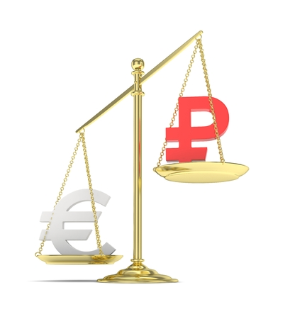 global rates: Isolated golden scales with silver euro and red ruble currency. Russian and european finance. Measuring of market stability. 3D rendering.