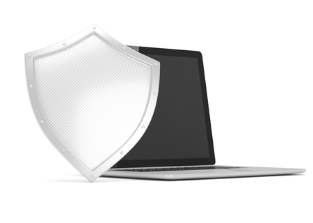 safe world: Laptop and shield on white, computer security concept. 3d rendering.