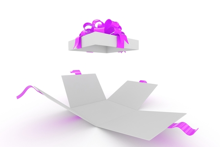open gift box: open gift box on white background. 3d rendering.