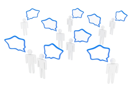 people with talk bubbles isolated over a white background. 3d rendering. Stock Photo