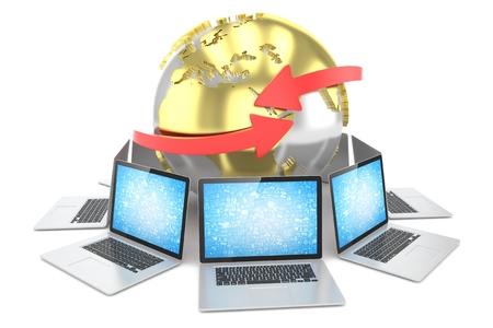 www: Laptop network around earth globe. 3d render Stock Photo