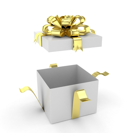 open gift box: open gift box with bows isolated on white. 3d rendering.