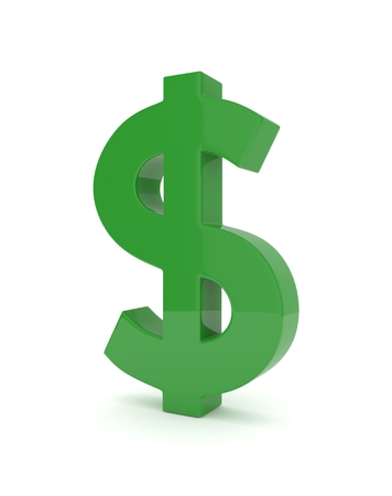 green economy: Isolated green dollar sign on white background. American currency. Money green economy symbol. 3D rendering.