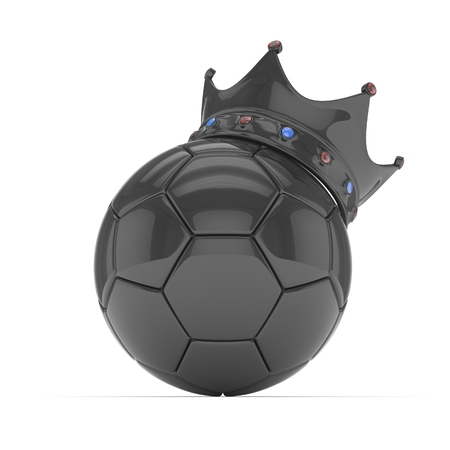monotone: Black soccer ball with black crown on white background. 3D rendering. Stock Photo