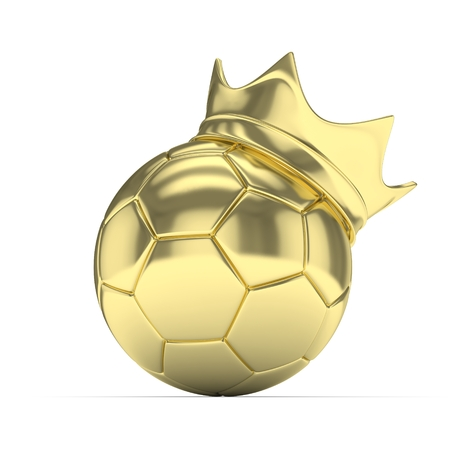 monotone: Golden soccer ball with golden crown on white background. 3D rendering.