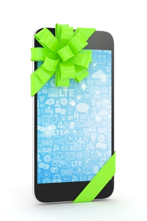 Black phone with green bow and blue screen. 3D rendering.
