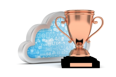 bronzed: Isoalted bronze cup with cloud on white background. Concept of cloud storage competition. Leader cloud drive. Best storage contest. 3D rendering.