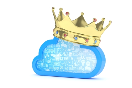 Cloud with golden crown on white background. Model of best network, database, cloud storage. Royal technology. 3D rendering. Stock Photo